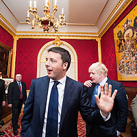 Prime Minister Matteo Renzi visits Lancaster House for the celebration of the 150th anniversary of Giuseppe Garibaldi&rsquo;s visit to London.<br />