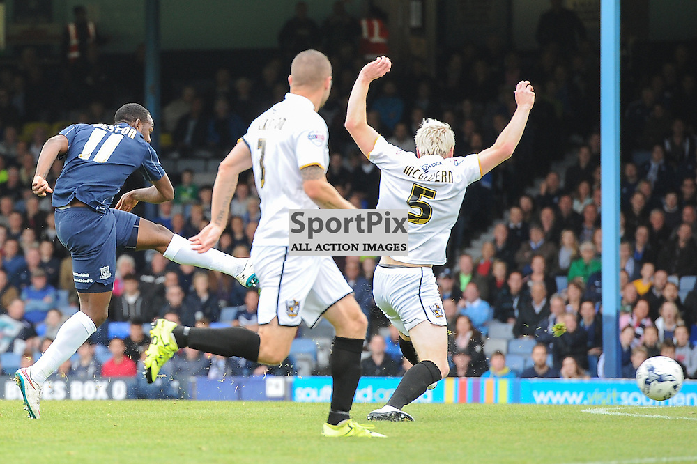 Southends Myles Weston gets a shot away during the Southend v Port Vale game in Sky Bet League 1 on the 10th October 2015