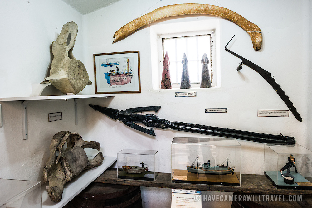 A room of various historical artefacts, including a harpoon and whale bones, related to the Antarctic whaling industry on display at the Maritime Museum of Ushuaia. The museum consists of several wings devoted to maritime history, Antarctic exploration, an art gallery, and a policy and penitentiary museum. The complex is housed in an historic prison building and uses the original cells and offices as exhibit spaces.