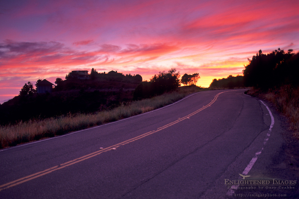 Grizzly Peak Road at Sunset Oakland / Berkeley Hills, CALIFORNIA
