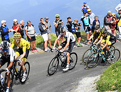 July 25, 2018 - Saint Lary Soulan, France - SAINT-LARY-SOULAN COL DU PORTET, FRANCE - JULY 25 : THOMAS Geraint (GBR) of Team SKY, FROOME Chris (GBR) of Team SKY, KRUIJSWIJK Steven (NED) of Team Lotto NL - Jumbo, ROGLIC Primoz (SLO) of Team Lotto NL - Jumboduring stage 17 of the 105th edition of the 2018 Tour de France cycling race, a stage of 65 kms between Bagneres-de-Luchon and Saint-Lary-Soulan Col Du Portet on July 25, 2018 in Saint-Lary-Soulan Col Du Portet, France, 25/07/2018 (Credit Image: © Panoramic via ZUMA Press)