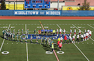 Middletown, New York - Players from Fort Ann, at right, and Chazy take the field for introductions before the Class D state championship boys, soccer, game at Faller Field in Middletown on Sunday, Nov. 18, 2012.