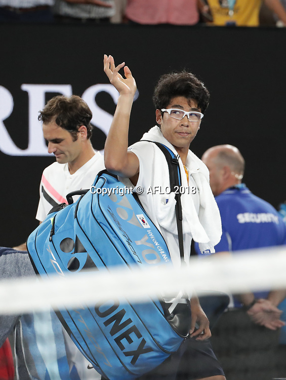 Korean tennis player Hyeon Chung waves to the fans after retiring injured from his semi finals match at the Australian Open vs Swiss tennis player Roger Federer on Jan 26, 2018 in Melbourne, Australia. (Photo by YAN LERVAL/AFLO)
