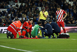 January 24, 2019 - Madrid, Madrid, Spain - Gorka Iraizoz (Girona FC) seen lying on the pitch injured during the Copa del Rey Round of quarter-final first leg match between Real Madrid CF and Girona FC at theSantiago Bernabeu Stadium in Madrid, Spain. (Credit Image: © Manu Reino/SOPA Images via ZUMA Wire)