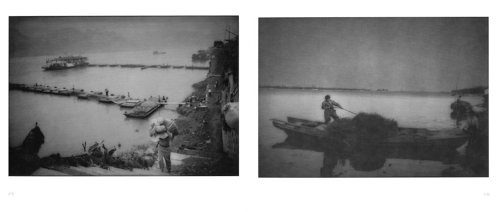 L:  Heavily burdened porter ascends from the river's edge.  Chongqing, China.  1997..R:  Collecting lake grass on Lake Taihu, Jiangsu Province, China. 1994
