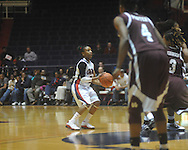 """Ole Miss' Valencia McFarland (3) shoots vs. Mississippi State in a NCAA women's college basketball game at the C.M. """"Tad"""" Smith in Oxford, Miss. on Thursday, February 10, 2011.  Mississippi State won 59-43.."""