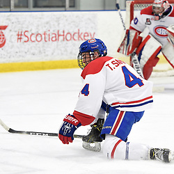 TORONTO, ON  - JAN 7,  2018: Ontario Junior Hockey League game between the Toronto Jr. Canadiens and the Buffalo Jr. Sabres, Tyler Sampson #44 of the Toronto Jr. Canadiens blocks the shot during the third period.<br /> (Photo by Andy Corneau / OJHL Images)