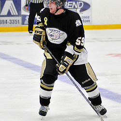 COBOURG, ON - Oct 19: Ontario Junior Hockey League game between Kingston Voyageurs and Trenton Golden Hawks. Nick Marinac #59 of the Trenton Golden Hawks during third period game action..(Photo by Shawn Muir / OJHL Images)