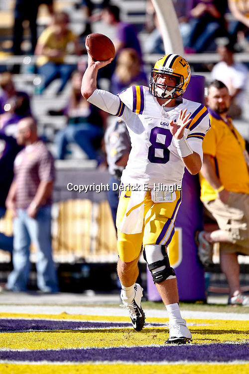 November 17, 2012; Baton Rouge, LA, USA  LSU Tigers quarterback Zach Mettenberger (8) during warm ups prior to kickoff of a game against the Ole Miss Rebels at Tiger Stadium. LSU defeated Ole Miss 41-35. Mandatory Credit: Derick E. Hingle-US PRESSWIRE
