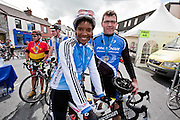 Olympic Athlete Denise Lewis and her husband Steve O'Connor after the Etap Hibernia Sky Ride in Ennis on Sunday. Photograph by Eamon Ward