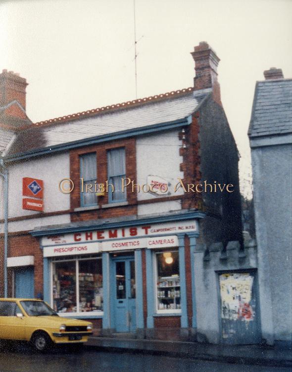 Old Dublin Amature Photos March 1983 WITH, Preretons Pawn Shop, Capel St, The Alcove, Ballsbridge, Donnollons Shop York Rd Dunlaire, Lodge BALLENTEER, Farm Gates, The Corner shop. Rathfarnham, School Inchicore, Quinns Butchers, Howth, agfa, chemist,