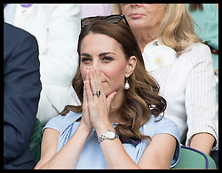 July 14, 2019 - London, London, United Kingdom - Image licensed to i-Images Picture Agency. 14/07/2019. London, United Kingdom. The Duke and Duchess of Cambridge watching the MenÃ•s singles Final on the last day of the Wimbledon Tennis Championships in London. (Credit Image: © Stephen Lock/i-Images via ZUMA Press)