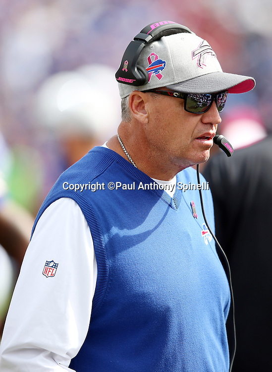Buffalo Bills head coach Rex Ryan looks on from the sideline during the 2015 NFL week 4 regular season football game against the New York Giants on Sunday, Oct. 4, 2015 in Orchard Park, N.Y. The Giants won the game 24-10. (©Paul Anthony Spinelli)