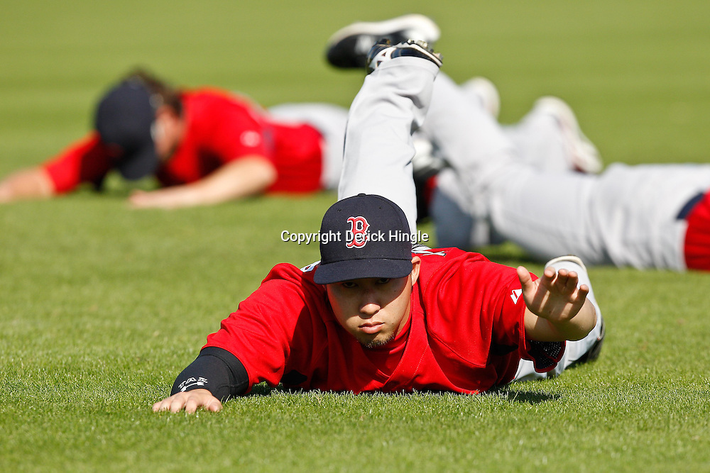 February 18, 2011; Fort Myers, FL, USA; Boston Red Sox relief pitcher Junichi Tazawa (63) during spring training at the Player Development Complex.  Mandatory Credit: Derick E. Hingle