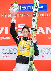 Winner Peter Prevc of Slovenia in Overall Ski Flying classification celebrates during final trophy ceremony after the Ski Flying Individual Competition at Day 4 of FIS World Cup Ski Jumping Final, on March 22, 2015 in Planica, Slovenia. Photo by Vid Ponikvar / Sportida