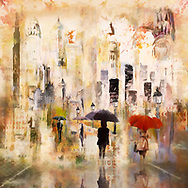Painterly rendering of an urban scene with sketched people with umbrellas walking along a street with lanterns against a background of skyscrapers in warm pastel colors of beige, yellow and orange