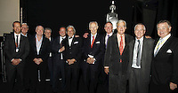 Geoff Taylor (BPI Chief Executive), Sir Cyril Taylor CBE, Tony Wadsworth CBE (BPI Chairman), Clive Rich, Ed Vaizey MP,  Rob Dickins, Sir George Martin CBE, John Deacon CBE, Lord Baker of Dorking, Nick Williams (BRIT School Principal) and John Craig  OBE (l-r). The BRIT School, The BRIT School Industry Day, Croydon, London..Thursday, Sept.22, 2011 (John Marshall JME)