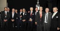 Geoff Taylor (BPI Chief Executive), Sir Cyril Taylor CBE, Tony Wadsworth CBE (BPI Chairman), Clive Rich, Ed Vaizey MP,  Rob Dickins, Sir George Martin CBE, John Deacon CBE, Lord Baker of Dorking, Nick Williams (BRIT School Principal) and John Craig  OBE (l-r). The BRIT School, The BRIT School Industry Day, Croydon, London..Thursday, Sept.22, 2011 (John Marshall JME)