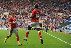 Bristol City's Kieran Agard celebrates with team mates  - Photo mandatory by-line: Joe Meredith/JMP - Mobile: 07966 386802 - 18/10/2014 - SPORT - Football - Coventry - Ricoh Arena - Bristol City v Coventry City - Sky Bet League One