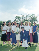 "Henley on Thames. Henley. GREAT BRITAIN;  <br /> GBR W8+  [Nautilus] after the prize giving. left to right, Cath BISHOP, Dot BLACKIE, Miriam BATTEN, Sue WALKER, Suzie ELLIS, Kate POLLITT, Ali GILL, Annmarie PHELPS [Nee STAPLETON] and Joanne TURVER Coach, Bill MASON.<br /> <br /> 1995 Women's Henley Regatta. Henley Reach. River Thames.<br /> <br /> [Mandatory Credit; ""Photo, Peter Spurrier/Intersport-images]"