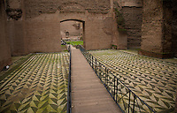 Rome, Italy - December 14, 2014: Visitors to the ruins of Terme di Caracalla, built between 212-216 AD,  will find many amazingly well-preserved mosaic floors that line the enormous Roman public baths. CREDIT: Chris Carmichael for The New York Times