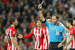 22.01.2012, Santiago Bernabeu Stadion, Madrid, ESP, Primera Division, Real Madrid vs Athletic Bilbao, 1. Spieltag, Nachtrag, im Bild Athletic de Bilbao's Andoni Iraola red card // during the football match of spanish 'primera divison' league, 1th round, supplement, between Real Madrid and Athletic Bilbao at Santiago Bernabeu stadium, Madrid, Spain on 2012/01/22. EXPA Pictures © 2012, PhotoCredit: EXPA/ Alterphotos/ Cesar Cebolla..***** ATTENTION - OUT OF ESP and SUI *****