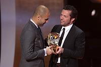 Josep Guardiola e Lothar Matthaus<br /> Zurigo 09/01/2012 Kongresshouse<br /> Football / Calcio<br /> Ballon d'Or awarding ceremony - Pallone d'oro 2012<br /> Foto Insidefoto Paolo Nucci