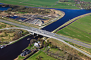 Nederland, Friesland, Waldwei, 01-05-2013; Fonejachtbrug in A31 over Prinses Margrietkanaal in de N31. Het kanaal is onderdeel van de hoofdvaarroute van Amsterdam via Lemmer naar Delfzijl.<br /> Bridge on the Prinses Margrietkanaal, Friesland near Leeuwarden, North Netherlands. The channel is part of the main shipping route to Amsterdam.<br /> luchtfoto (toeslag op standard tarieven);<br /> aerial photo (additional fee required);<br /> copyright foto/photo Siebe Swart