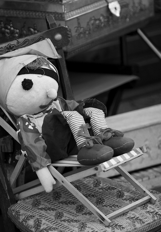 "Black and white photograph of a pirate doll at Les Puces antic market in Paris by Karl R Lilliendahl. This photo is available as Open and Limited Edition Giclee Print in four different sizes. Click on ""Get Print"" to see more details."