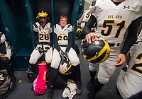 The Del Oro Golden Eagles wait to take field inside the locker room before the game as the Granite Bay Grizzlies host the the Del Oro Golden Eagles in the Sac-Joaquin Section Division II championship game at Hornet Stadium at Sacramento State, Saturday Dec 2, 2017. <br /> photo by Brian Baer