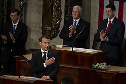 April 25, 2018 - Washington, District of Columbia, United States of America - French President EMMANUEL MACRON delivers a joint address to the United States congress at the United States Capitol in Washington, DC. (Credit Image: © Alex Edelman/CNP via ZUMA Wire)