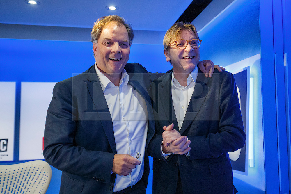 © Licensed to London News Pictures. 31/01/2017. London, UK. LBC radio presenter MATT FREI and The European Parliament's chief Brexit negotiator GUY VERHOFSTADT talk after an interview at the LBC studio in London on 31 January 2017. Photo credit: Tolga Akmen/LNP