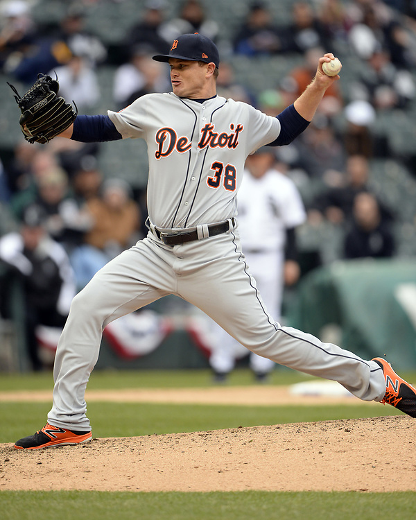 CHICAGO - APRIL 04:  Justin Wilson #38 of the Detroit Tigers pitches during the game against the Chicago White Sox on April 04, 2017 at Guaranteed Rate Field in Chicago, Illinois.  The Tigers defeated the White Sox 6-3.  (Photo by Ron Vesely)   Subject:  Justin Wilson