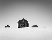 Abandoned homestead in wintertime