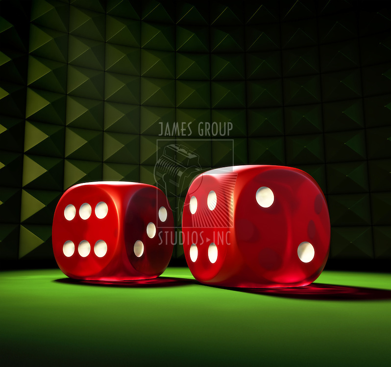 2 Red Dice on a green table in a spot