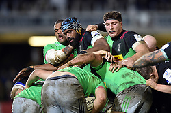 Tevita Cavubati and Dino Lamb of Harlequins in action at a maul - Mandatory byline: Patrick Khachfe/JMP - 07966 386802 - 10/01/2020 - RUGBY UNION - The Recreation Ground - Bath, England - Bath Rugby v Harlequins - Heineken Champions Cup