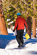 Backcountry skier taking care of business, Yosemite National Park, California
