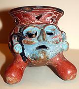 Pottery tripod incense burner Aztec AD 900-1521,