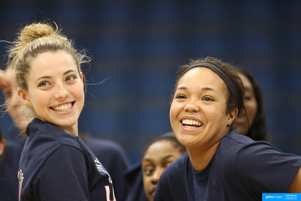 HARTFORD, CONNECTICUT- JANUARY 10: Katie Lou Samuelson #33 of the Connecticut Huskies and Napheesa Collier #24 of the Connecticut Huskies celebrates after the UConn teams ninetieth consecutive win during the the UConn Huskies Vs USF Bulls, NCAA Women's Basketball game on January 10th, 2017 at the XL Center, Hartford, Connecticut. (Photo by Tim Clayton/Corbis via Getty Images)