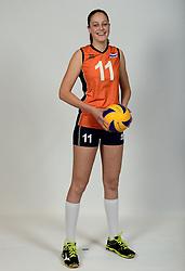 13-05-2014 NED: Selectie Nederlands volleybal team mannen, Arnhem<br /> Op Papendal werd het Nederlands team volleybal seizoen 2014-2015 gepresenteerd / Carlijn Koebrugge