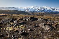 Looking towards valley Husadalur in Thorsmork. Glacier Eyjafjallajokull in background.<br /> <br /> Horft yfir í Húsadal í Þórsmörk frá Fífuhvömmum. Eyjafjallajökull í baksýn.