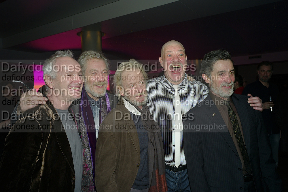 SIAN MATHIAS; SIR IAN MCKELLEN; RONALD PICKUP; MATTHEW KELLY; ROGER REES, The after-party for Waiting for Godot.( Opening at the Theatre Royal Haymarket. )  Haymarket Hotel. London. 27 January 2010 *** Local Caption *** -DO NOT ARCHIVE-© Copyright Photograph by Dafydd Jones. 248 Clapham Rd. London SW9 0PZ. Tel 0207 820 0771. www.dafjones.com.<br /> SIAN MATHIAS; SIR IAN MCKELLEN; RONALD PICKUP; MATTHEW KELLY; ROGER REES, The after-party for Waiting for Godot.( Opening at the Theatre Royal Haymarket. )  Haymarket Hotel. London. 27 January 2010