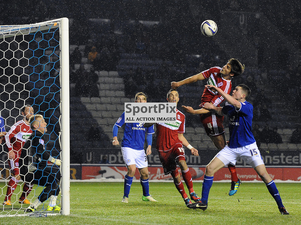 George Friend heading the ball but missing jumping during the npower championship match between Leicester City and Middlesborough at the King Power stadium on the 18th Jan 2013 in Leicester, England. WAYNE NEAL | STOCKPIX.EU