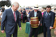 York Racecourse Patron His Royal Highness The Duke Of York KG assists in buryng a Time Capsule to mark the Diamond Jubilee of the John Smiths Cupduring the John Smiths Diamond Cup Meeting at York Racecourse, York, United Kingdom on 13 July 2019.