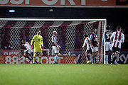 Brentford defender Nico Yennaris (8) scoring 2-0 during the EFL Sky Bet Championship match between Brentford and Aston Villa at Griffin Park, London, England on 31 January 2017. Photo by Matthew Redman.