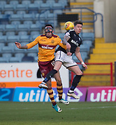 24th February 2018, Dens Park, Dundee, Scotland; Scottish Premier League football, Dundee versus Motherwell; Ryan Bowman of Motherwell competes in the air with Josh Meekings of Dundee