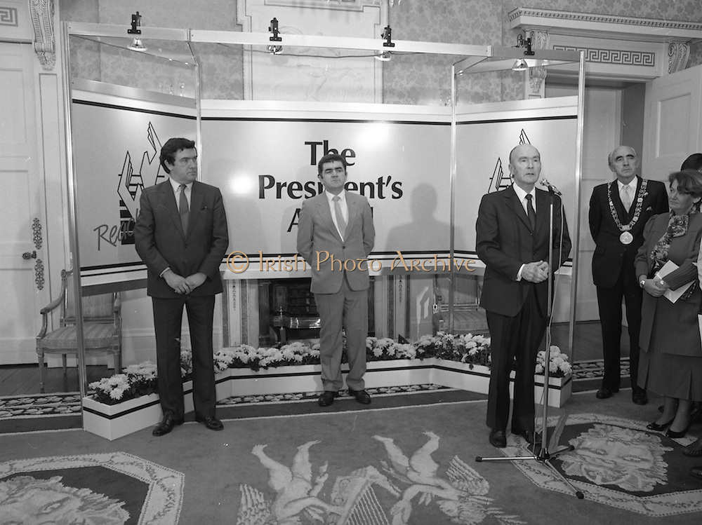 28/10/1985<br /> 10/28/1985<br /> 28 October 1985<br /> Launch of Gaisce The Presidents Award at Aras an Uachtarain. President Dr. Patrick Hillery launched the new national youth award scheme to be the nations highest award to Irish young people aged 15-25. Picture shows President Hillery speaking at the award launch.