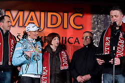 Slovenian athlete Petra Majdic celebrates with her family (2 brothers, mother and father) at her home town when she arrived home with small cristal globus at the end of the nordic season 2008/2009, on March 24, 2009, in Dol pri Ljubljani, Slovenia. (Photo by Vid Ponikvar / Sportida)