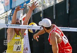 06.08.2011, Klagenfurt, Strandbad, AUT, Beachvolleyball World Tour Grand Slam 2011, im Bild Jonas Reckermann GER, Nick Lucena USA, AUT , EXPA Pictures © 2011, PhotoCredit EXPA Gert Steinthaler