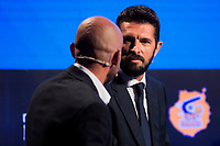 Sport Journalist Antonio Lobato and tv host Nikola Loncar during the presentation of the new season of La Liga Endesa 2016-2017 in Madrid. September 20, 2016. (ALTERPHOTOS/Borja B.Hojas)